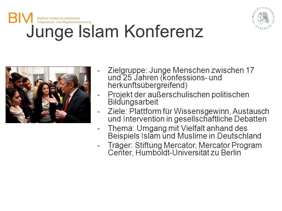 Junge Islam Konferenz -Zielgruppe: Junge Menschen zwischen 17 und 25 Jahren (konfessions- und herkunftsübergreifend) -Projekt der außerschulischen pol