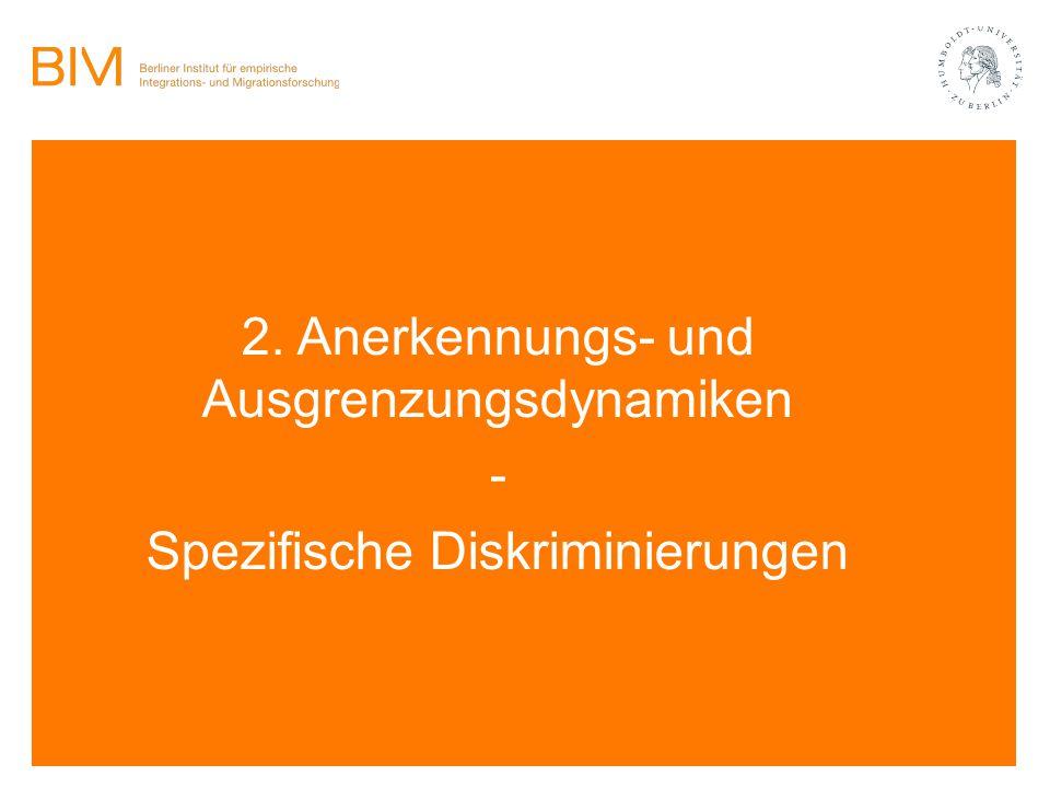 2. Anerkennungs- und Ausgrenzungsdynamiken - Spezifische Diskriminierungen