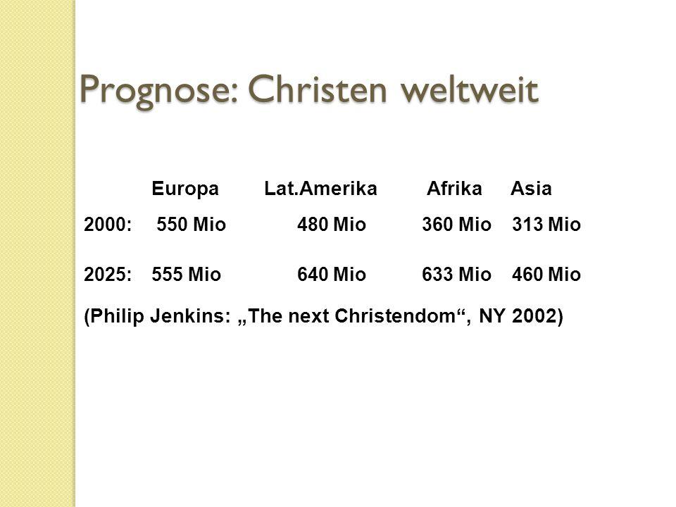 """Europa Lat.Amerika Afrika Asia 2000: 550 Mio 480 Mio360 Mio 313 Mio 2025: 555 Mio 640 Mio633 Mio 460 Mio (Philip Jenkins: """"The next Christendom , NY 2002) Prognose: Christen weltweit"""