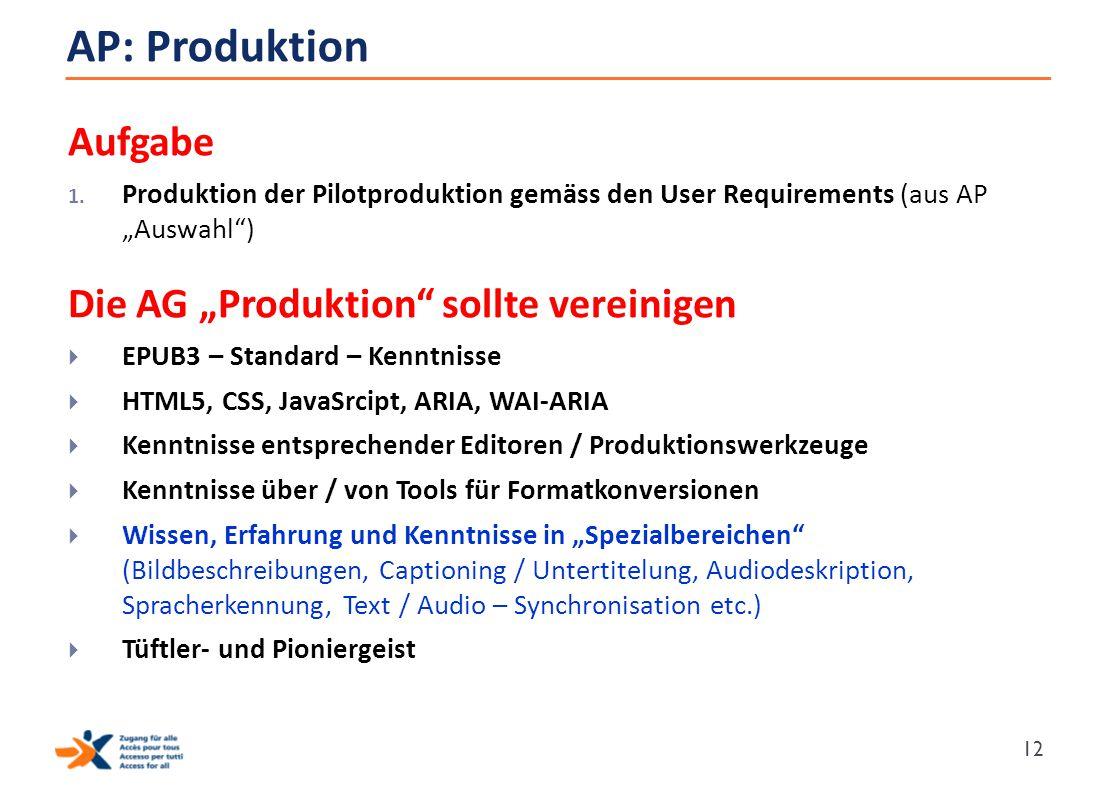 """AP: Produktion Aufgabe 1. Produktion der Pilotproduktion gemäss den User Requirements (aus AP """"Auswahl"""") Die AG """"Produktion"""" sollte vereinigen  EPUB3"""