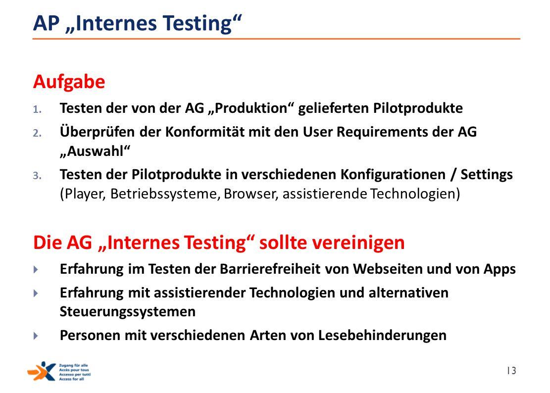 """AP """"Internes Testing"""" Aufgabe 1. Testen der von der AG """"Produktion"""" gelieferten Pilotprodukte 2. Überprüfen der Konformität mit den User Requirements"""