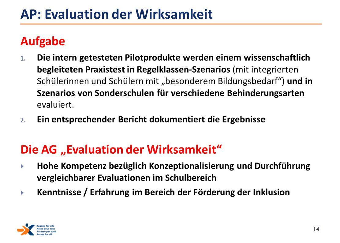 AP: Evaluation der Wirksamkeit Aufgabe 1. Die intern getesteten Pilotprodukte werden einem wissenschaftlich begleiteten Praxistest in Regelklassen-Sze