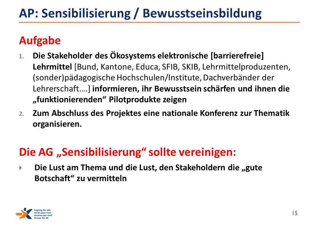 AP: Sensibilisierung / Bewusstseinsbildung Aufgabe 1. Die Stakeholder des Ökosystems elektronische [barrierefreie] Lehrmittel [Bund, Kantone, Educa, S