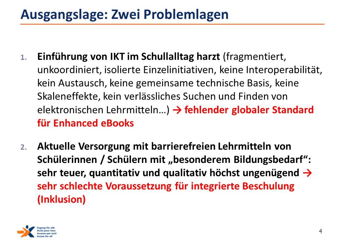 Ausgangslage: Zwei Problemlagen 1. Einführung von IKT im Schullalltag harzt (fragmentiert, unkoordiniert, isolierte Einzelinitiativen, keine Interoper