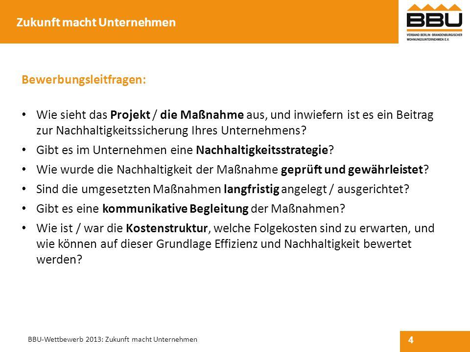 4 BBU-Wettbewerb 2013: Zukunft macht Unternehmen Bewerbungsleitfragen: Wie sieht das Projekt / die Maßnahme aus, und inwiefern ist es ein Beitrag zur