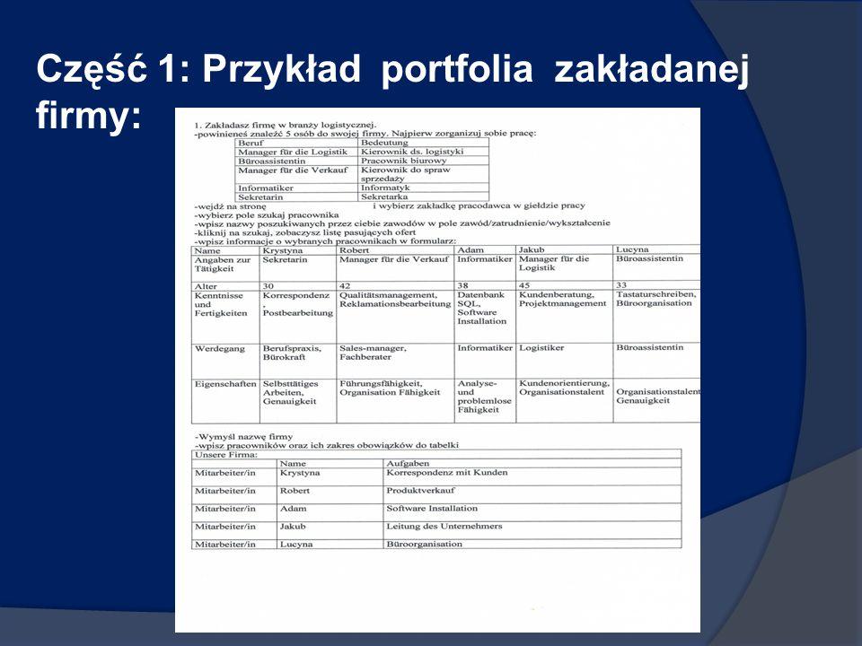 Część 1: Przykład portfolia zakładanej firmy: