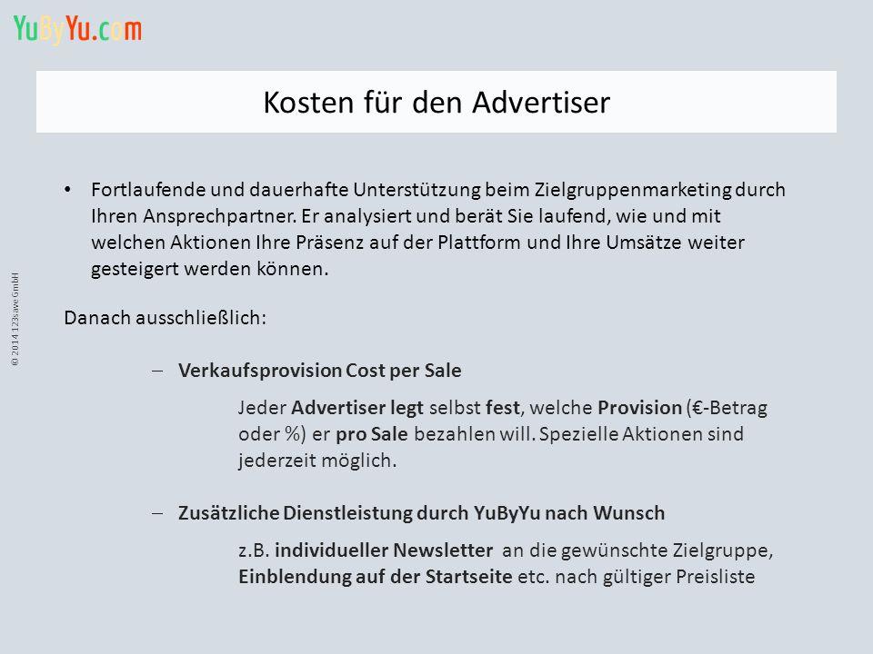 © 2014 123save GmbH Kosten für den Advertiser Fortlaufende und dauerhafte Unterstützung beim Zielgruppenmarketing durch Ihren Ansprechpartner. Er anal