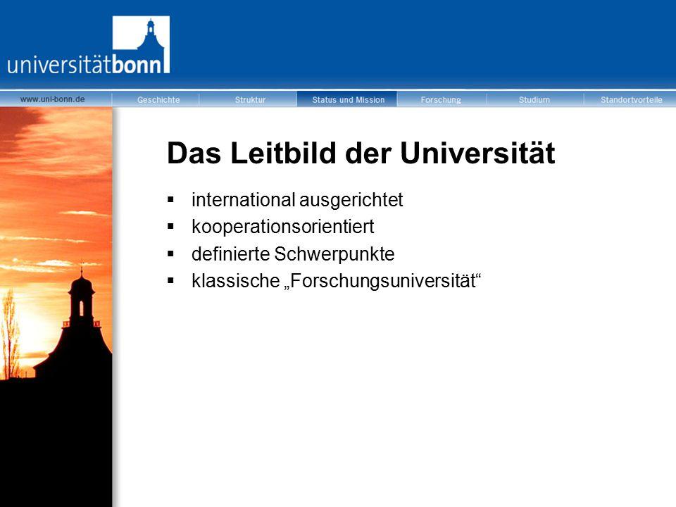 """Das Leitbild der Universität  international ausgerichtet  kooperationsorientiert  definierte Schwerpunkte  klassische """"Forschungsuniversität"""""""