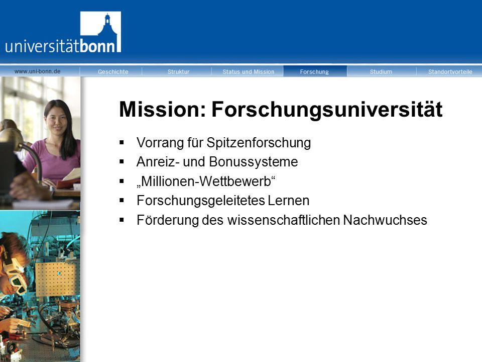 """Mission: Forschungsuniversität  Vorrang für Spitzenforschung  Anreiz- und Bonussysteme  """"Millionen-Wettbewerb""""  Forschungsgeleitetes Lernen  Förd"""