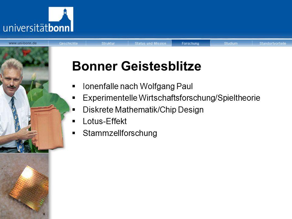 Bonner Geistesblitze  Ionenfalle nach Wolfgang Paul  Experimentelle Wirtschaftsforschung/Spieltheorie  Diskrete Mathematik/Chip Design  Lotus-Effe