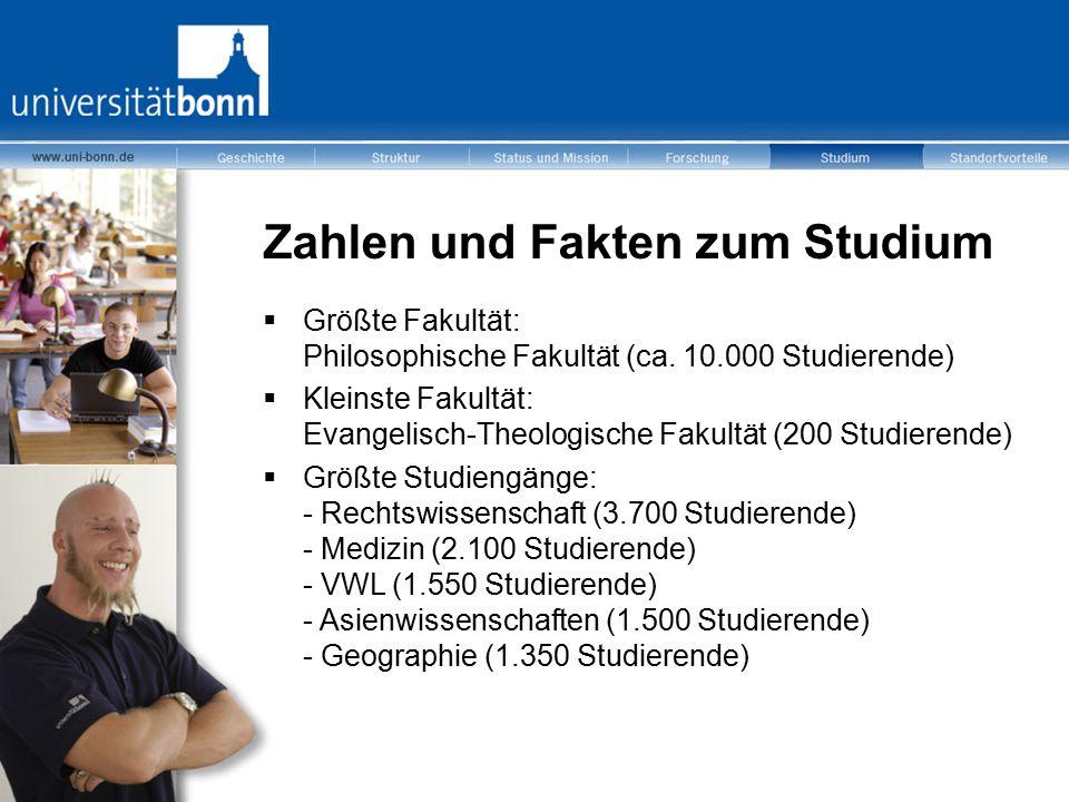 Zahlen und Fakten zum Studium  Größte Fakultät: Philosophische Fakultät (ca. 10.000 Studierende)  Kleinste Fakultät: Evangelisch-Theologische Fakult