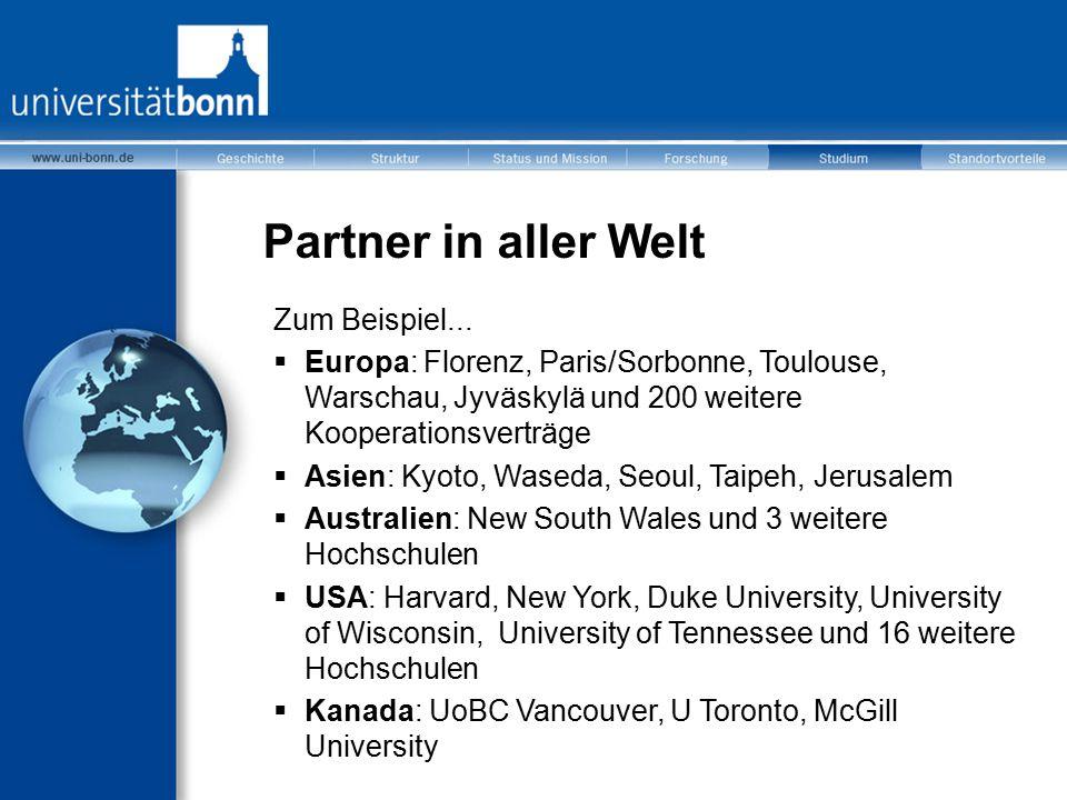 Partner in aller Welt Zum Beispiel...  Europa: Florenz, Paris/Sorbonne, Toulouse, Warschau, Jyväskylä und 200 weitere Kooperationsverträge  Asien: K