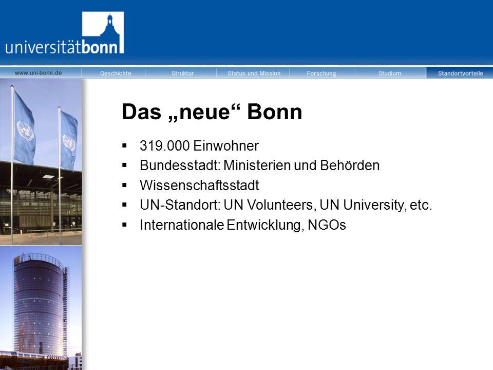 """Das """"neue"""" Bonn  319.000 Einwohner  Bundesstadt: Ministerien und Behörden  Wissenschaftsstadt  UN-Standort: UN Volunteers, UN University, etc.  I"""