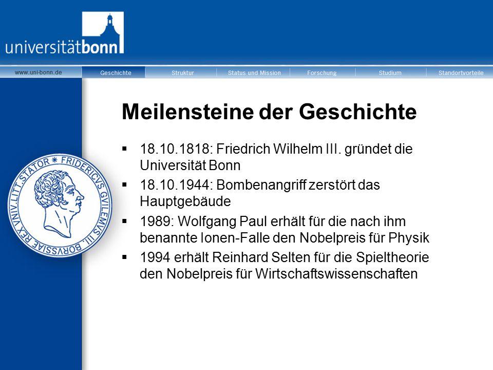 Meilensteine der Geschichte  18.10.1818: Friedrich Wilhelm III. gründet die Universität Bonn  18.10.1944: Bombenangriff zerstört das Hauptgebäude 