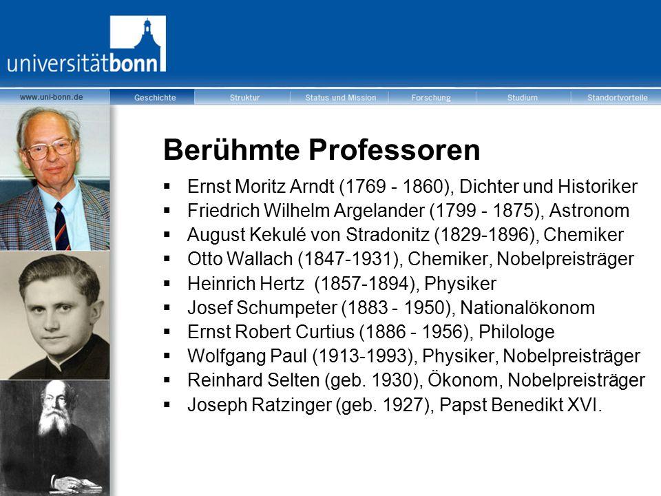 Berühmte Professoren  Ernst Moritz Arndt (1769 - 1860), Dichter und Historiker  Friedrich Wilhelm Argelander (1799 - 1875), Astronom  August Kekulé