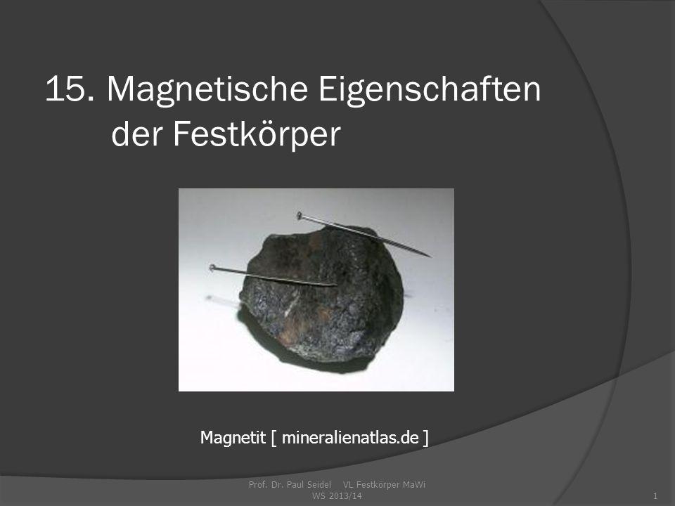 Prof.Dr. Paul Seidel VL Festkörper MaWi WS 2013/141 15.
