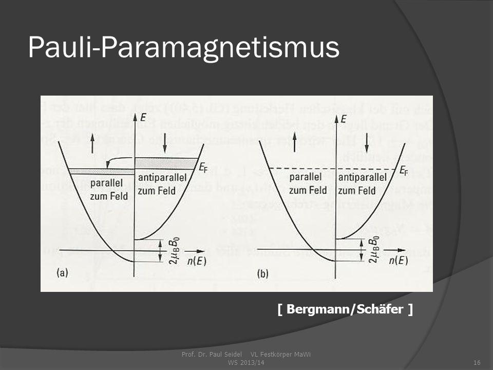 Prof. Dr. Paul Seidel VL Festkörper MaWi WS 2013/1416 Pauli-Paramagnetismus [ Bergmann/Schäfer ]