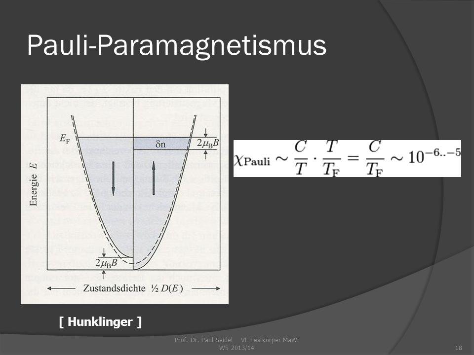 Prof. Dr. Paul Seidel VL Festkörper MaWi WS 2013/1418 Pauli-Paramagnetismus [ Hunklinger ]