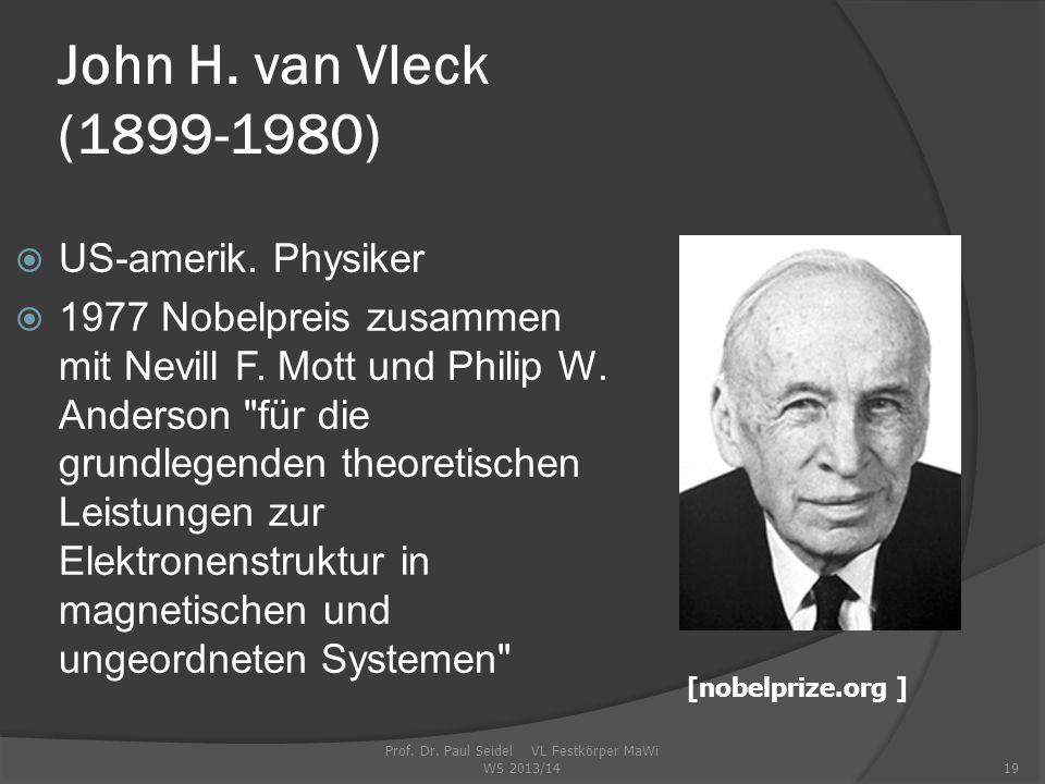 Prof.Dr. Paul Seidel VL Festkörper MaWi WS 2013/1419 John H.
