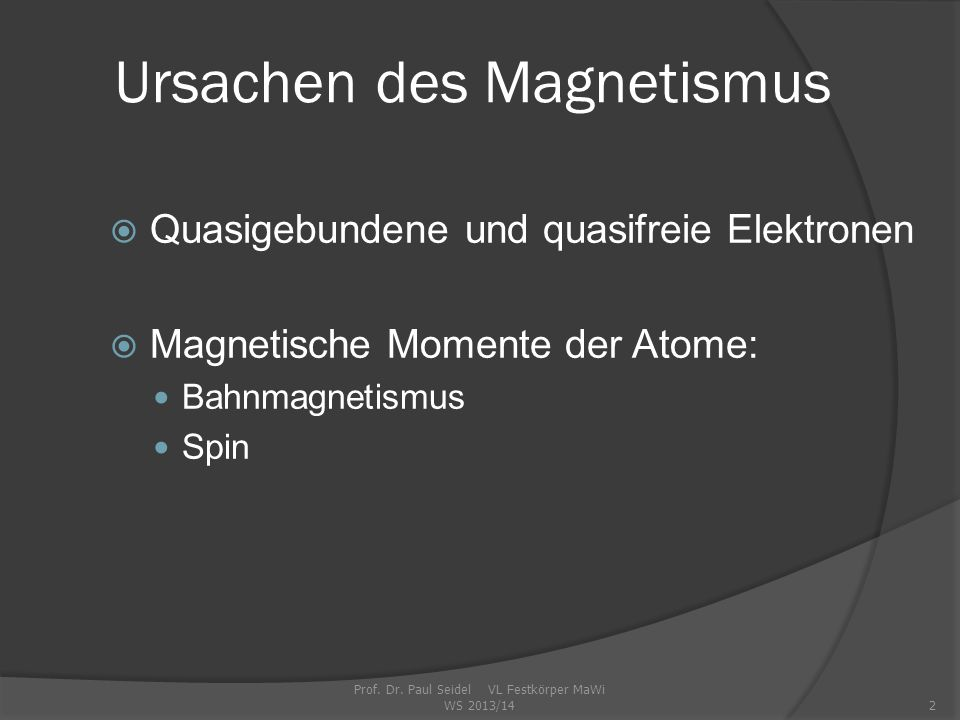 Ursachen des Magnetismus Prof.Dr.