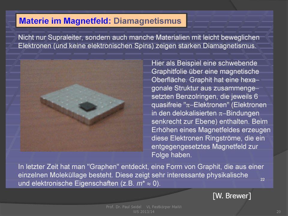 Prof. Dr. Paul Seidel VL Festkörper MaWi WS 2013/1420 [W. Brewer]