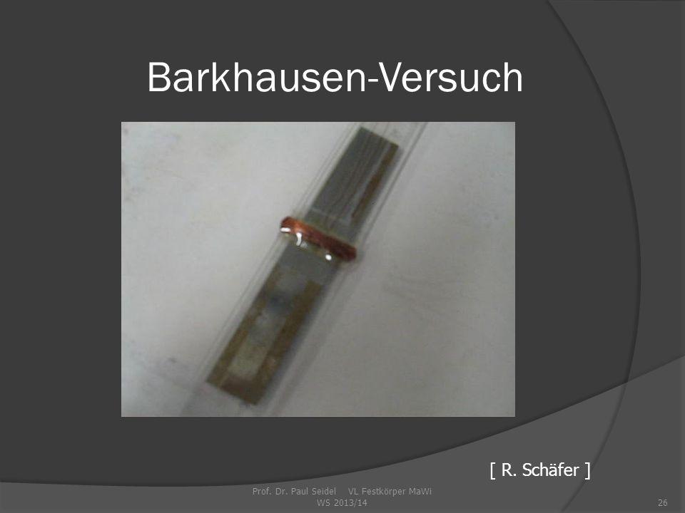 Barkhausen-Versuch Prof. Dr. Paul Seidel VL Festkörper MaWi WS 2013/1426 [ R. Schäfer ]