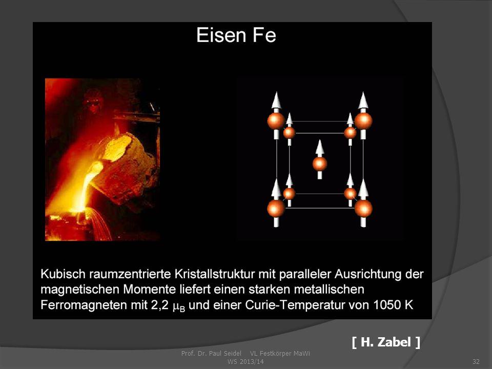 Prof. Dr. Paul Seidel VL Festkörper MaWi WS 2013/1432 [ H. Zabel ]