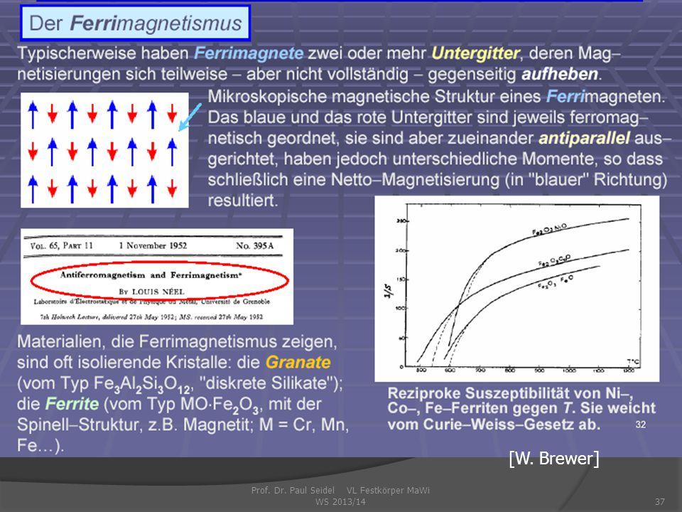 Prof. Dr. Paul Seidel VL Festkörper MaWi WS 2013/1437 [W. Brewer]