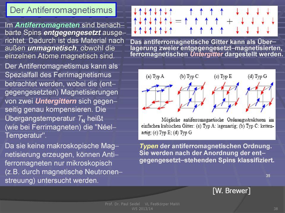 Prof. Dr. Paul Seidel VL Festkörper MaWi WS 2013/1438 [W. Brewer]