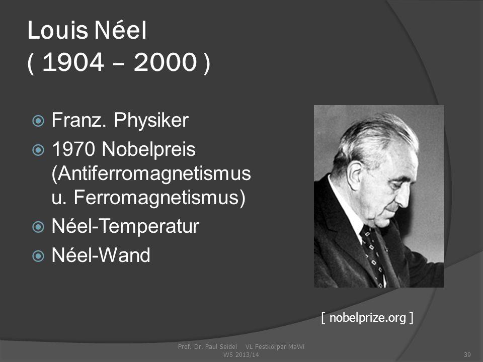 Prof.Dr. Paul Seidel VL Festkörper MaWi WS 2013/1439 Louis Néel ( 1904 – 2000 )  Franz.