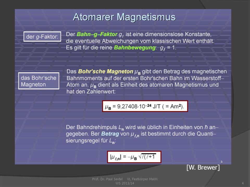 Prof. Dr. Paul Seidel VL Festkörper MaWi WS 2013/144 [W. Brewer]