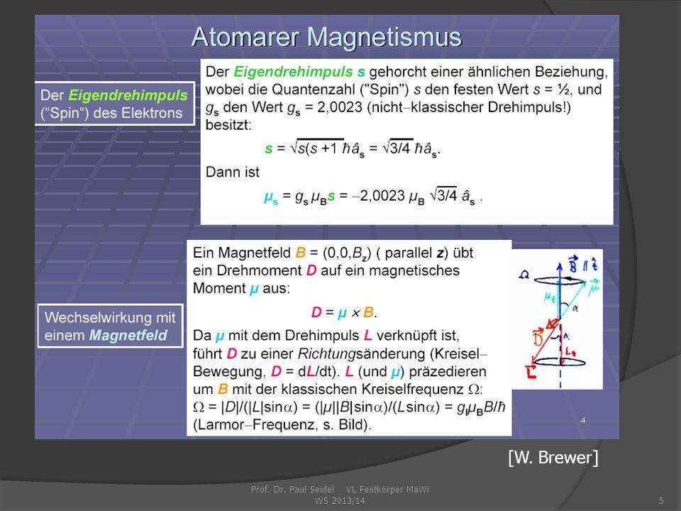 Prof. Dr. Paul Seidel VL Festkörper MaWi WS 2013/145 [W. Brewer]