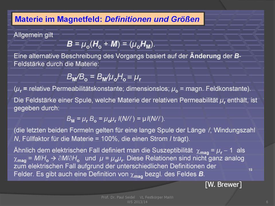 Prof. Dr. Paul Seidel VL Festkörper MaWi WS 2013/146 [W. Brewer]