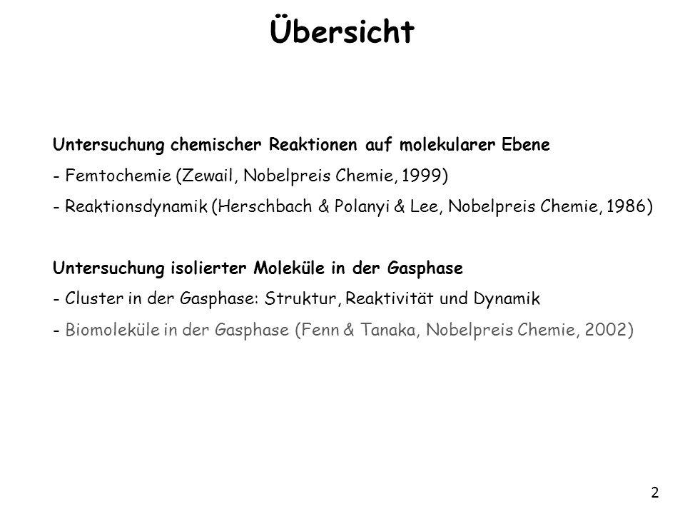 2 Übersicht Untersuchung chemischer Reaktionen auf molekularer Ebene - Femtochemie (Zewail, Nobelpreis Chemie, 1999) - Reaktionsdynamik (Herschbach &