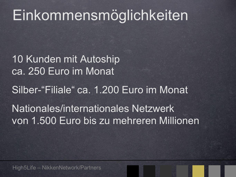 """High5Life – NikkenNetwork/Partners Einkommensmöglichkeiten 10 Kunden mit Autoship ca. 250 Euro im Monat Silber-""""Filiale"""" ca. 1.200 Euro im Monat Natio"""