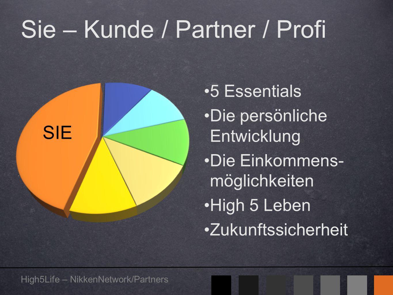 High5Life – NikkenNetwork/Partners Sie – Kunde / Partner / Profi 5 Essentials Die persönliche Entwicklung Die Einkommens- möglichkeiten High 5 Leben Z