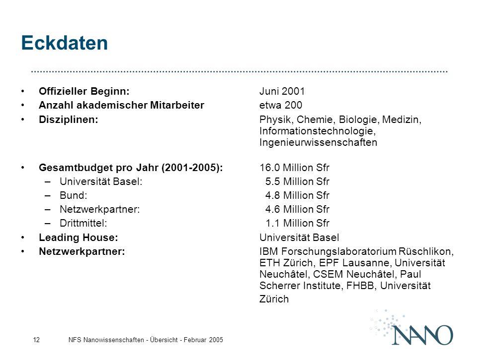 NFS Nanowissenschaften - Übersicht - Februar 200512 Eckdaten Offizieller Beginn:Juni 2001 Anzahl akademischer Mitarbeiter etwa 200 Disziplinen: Physik