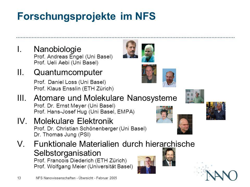 NFS Nanowissenschaften - Übersicht - Februar 200513 Forschungsprojekte im NFS I.Nanobiologie Prof. Andreas Engel (Uni Basel) Prof. Ueli Aebi (Uni Base