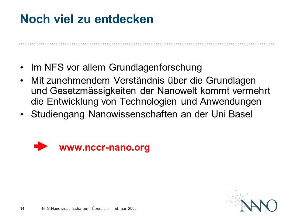 NFS Nanowissenschaften - Übersicht - Februar 200514 Noch viel zu entdecken Im NFS vor allem Grundlagenforschung Mit zunehmendem Verständnis über die G