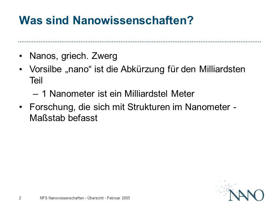 """NFS Nanowissenschaften - Übersicht - Februar 20052 Was sind Nanowissenschaften? Nanos, griech. Zwerg Vorsilbe """"nano"""" ist die Abkürzung für den Milliar"""