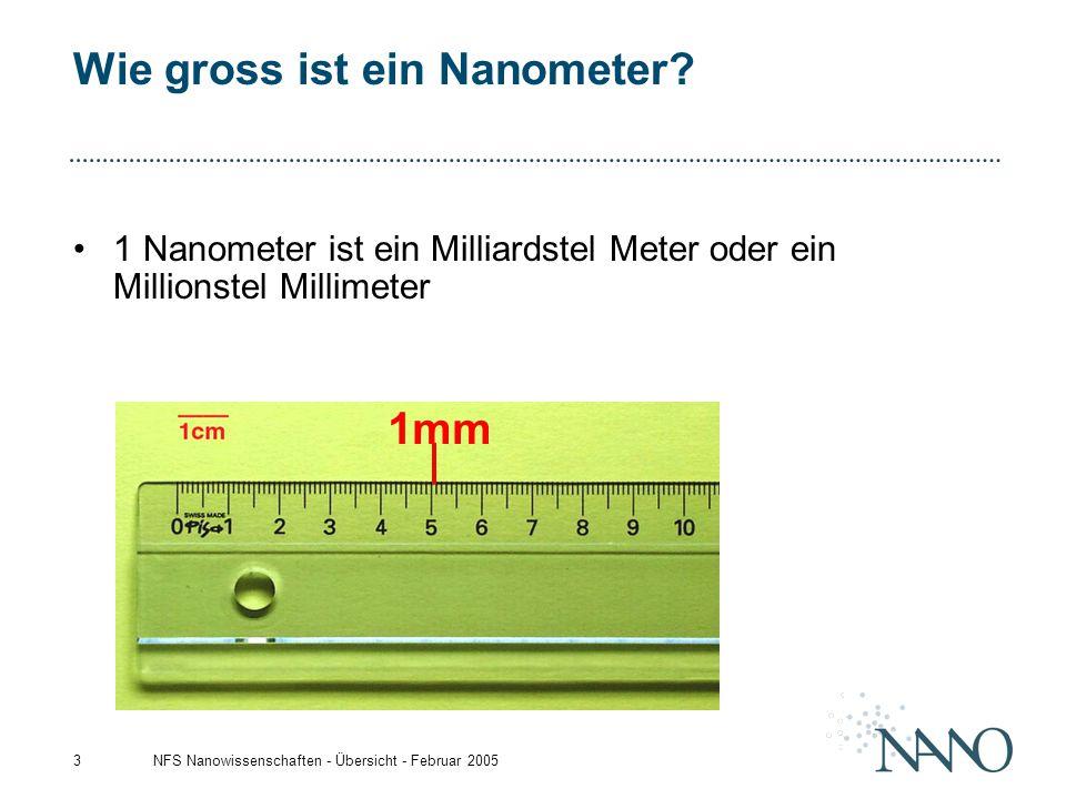 NFS Nanowissenschaften - Übersicht - Februar 20053 Wie gross ist ein Nanometer? 1 Nanometer ist ein Milliardstel Meter oder ein Millionstel Millimeter