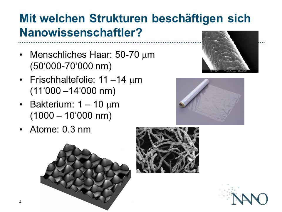NFS Nanowissenschaften - Übersicht - Februar 20054 Mit welchen Strukturen beschäftigen sich Nanowissenschaftler? Menschliches Haar: 50-70  m (50'000-