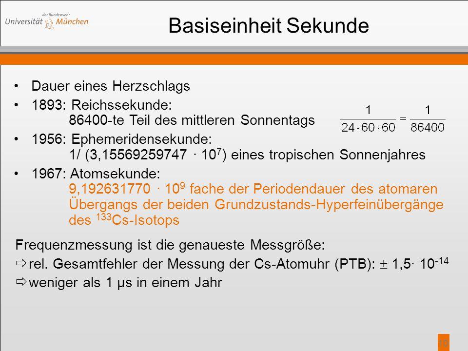 10 Basiseinheit Sekunde Dauer eines Herzschlags 1893: Reichssekunde: 86400-te Teil des mittleren Sonnentags 1956: Ephemeridensekunde: 1/ (3,1556925974