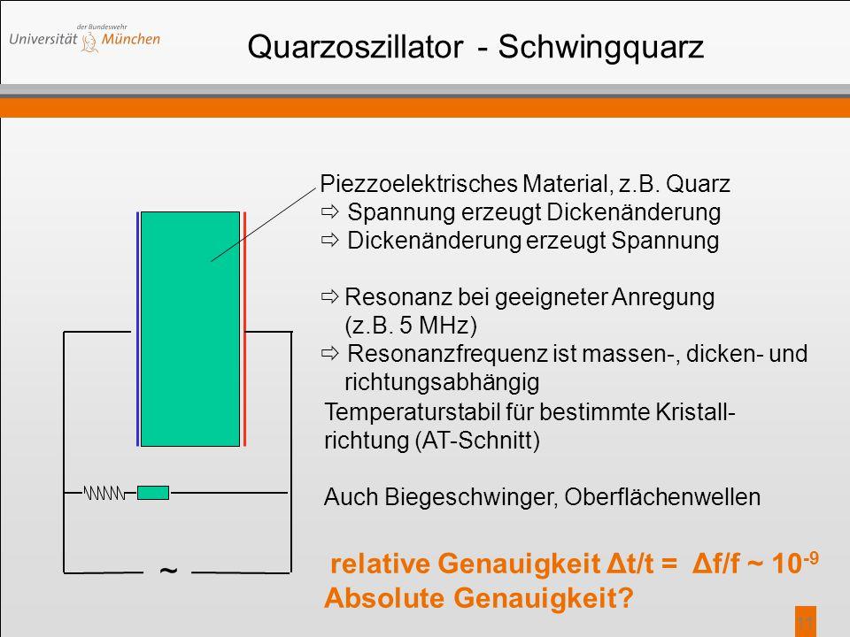 11 Quarzoszillator - Schwingquarz ~ Piezzoelektrisches Material, z.B. Quarz  Spannung erzeugt Dickenänderung  Dickenänderung erzeugt Spannung  Reso