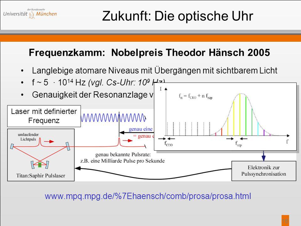 16 Langlebige atomare Niveaus mit Übergängen mit sichtbarem Licht f ~ 5 · 10 14 Hz (vgl. Cs-Uhr: 10 9 Hz) Genauigkeit der Resonanzlage von Δf/f ~ 10 -