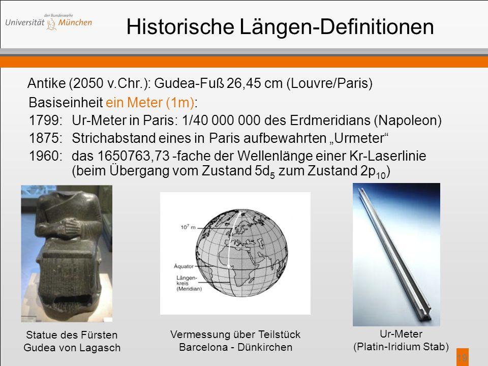 19 Historische Längen-Definitionen Basiseinheit ein Meter (1m): 1799:Ur-Meter in Paris: 1/40 000 000 des Erdmeridians (Napoleon) 1875:Strichabstand ei