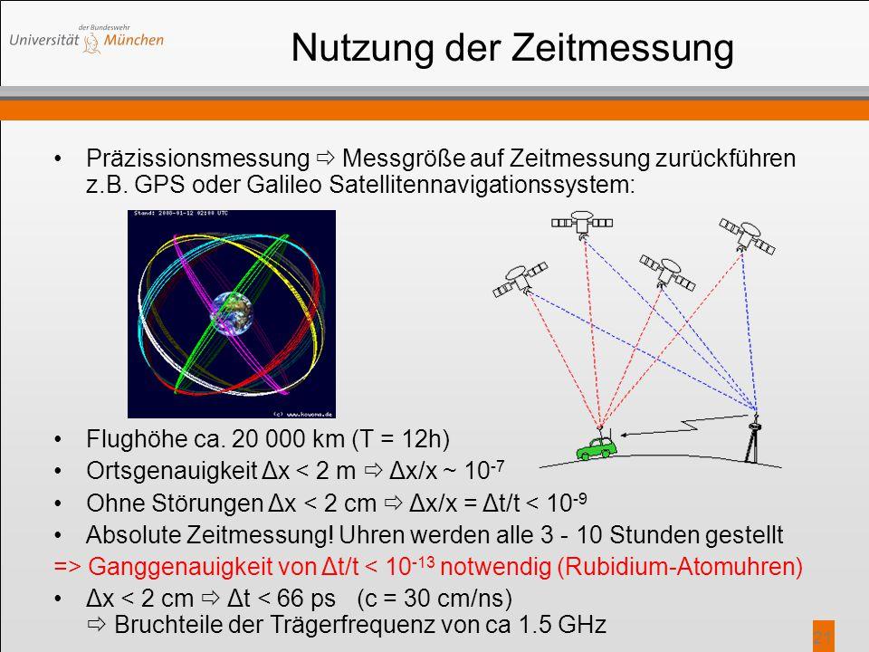 21 Nutzung der Zeitmessung Präzissionsmessung  Messgröße auf Zeitmessung zurückführen z.B. GPS oder Galileo Satellitennavigationssystem: Flughöhe ca.