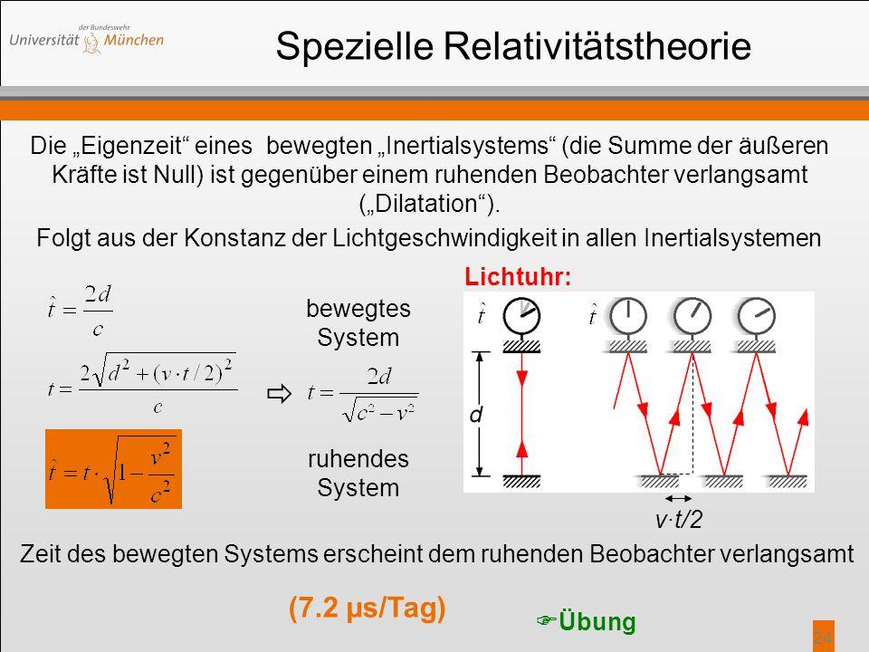"""24 Spezielle Relativitätstheorie Die """"Eigenzeit"""" eines bewegten """"Inertialsystems"""" (die Summe der äußeren Kräfte ist Null) ist gegenüber einem ruhenden"""