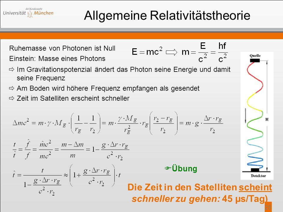 25 Allgemeine Relativitätstheorie Ruhemasse von Photonen ist Null Einstein: Masse eines Photons Die Zeit in den Satelliten scheint schneller zu gehen: