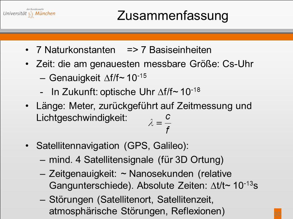 30 Zusammenfassung 7 Naturkonstanten => 7 Basiseinheiten Zeit: die am genauesten messbare Größe: Cs-Uhr –Genauigkeit  f/f~ 10 -15 - In Zukunft: optis